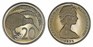 NEW ZEALAND 20 CENTS 1975  PROOF   ONLY 10 000 MINTED