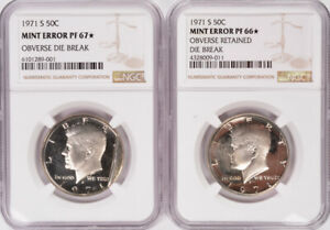 Click now to see the BUY IT NOW Price! NGC  2 COIN SET  50C 1971 S PROOF KENNEDY HALF OBVERSE CUD & PRE CUD PF66/PF67