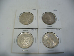 Click now to see the BUY IT NOW Price! LOT OF 4  USA ONE  1 $ DOLLAR   SILVER COINS   PIECES   90      LOT B