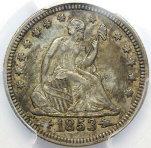 1853 25 CENT SEATED LIBERTY WITH
