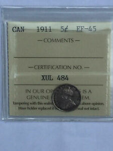 CANADA 1911 GEORGE SILVER 5 FIVE CENT 5C NICKEL ICCS GRADED EF 45