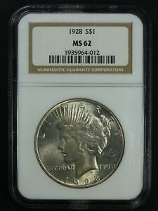 1928 PEACE SILVER DOLLAR NGC MS 62