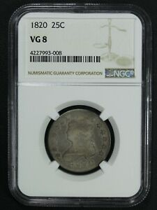 1820 CAPPED BUST SILVER QUARTER NGC VG 08