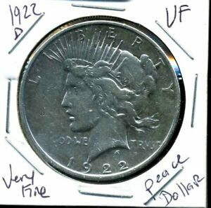 1922 D VF PEACE DOLLAR FINE 90  SILVER KEY DATE US $1 BETTER COIN 768