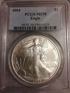 2004 SILVER EAGLE PCGS MS70 OLD BLUE LABEL