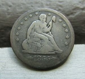 1855 O ARROWS   SEATED LIBERTY 25C   NICE F/VF   LOW MINTAGE OF ONLY 176K