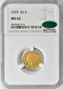 1929 INDIAN HEAD QUARTER EAGLE $2.5 GOLD NGC MS62 CAC