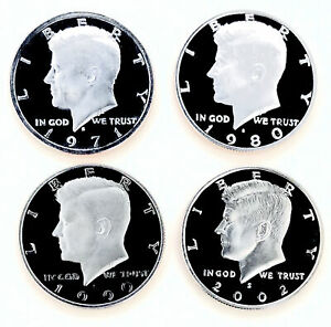 ULTRA  4 DECADES OF PROOF KENNEDYS  ALL HUGE DCAMS  PERFECT COINS$$1210_213