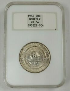 1936 US NORFOLK 50 CENTS NGC MS64
