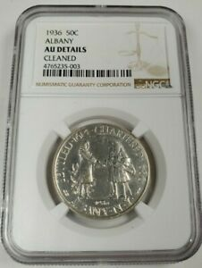1936 US ALBANY 50 CENTS NGC AU DETAILS CLEANED