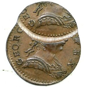 1774  DOUBLE STRUCK BRITISH IMITATION COLONIAL COPPER COIN