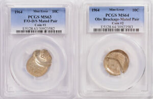 Click now to see the BUY IT NOW Price!  2 COINS  PCGS 10C 1964 ROOSEVELT DIME MATED PAIR FLIP OVER D/D MS63 & MS64