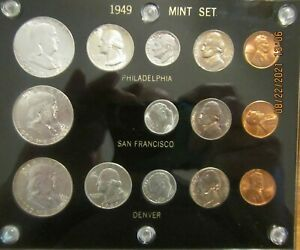 Click now to see the BUY IT NOW Price! 1949 P D S SILVER 50C 25C 10C US MINT SET 14 COINS SUPER NICE CAPITAL HOLDER