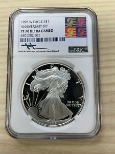 Click now to see the BUY IT NOW Price! 1995 W $1 PROOF AMERICAN SILVER EAGLE NGC PF 70 MERCANTI SIGNED THE KEY DATE