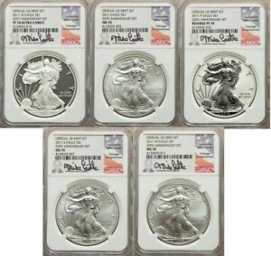2011 SILVER EAGLE 25TH ANNIVERSARY 5 PC SET NGC 70 CASTLE SIGNED
