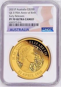 Click now to see the BUY IT NOW Price! 2021 QUEEN ELIZABETH 95TH BIRTHDAY 2OZ .9999 GOLD $200 PROOF COIN NGC PF70 ER