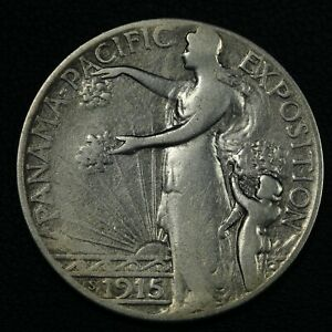 1915 S PANAMA PACIFIC PAN PAC SILVER COMMEMORATIVE HALF DOLLAR   CLEANED