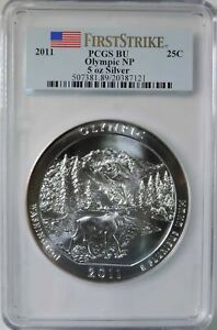 2011 AMERICA THE BEAUTIFUL OLYMPIC 5OZ SILVER COIN PCGS BU FIRST STRIKE .999 P