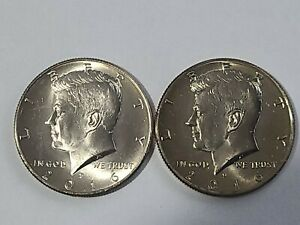 2 COINS 2016 P&D 50 CENTS CLAD KENNEDY HALF DOLLAR UNCIRCULATED FROM MINT ROLLS