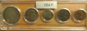 1954 P SILVER 50C 25C 10C US MINT SET 5 COINS IN A PLASTIC NICE WHITMAN HOLDER 3