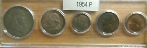 1954 P SILVER 50C 25C 10C US MINT SET 5 COINS IN A PLASTIC NICE WHITMAN HOLDER 4