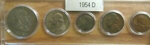 1954 D SILVER 50C 25C 10C US MINT SET 5 COINS IN A PLASTIC NICE WHITMAN HOLDER 4