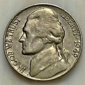 1949 S JEFFERSON NICKEL. YOUR ACTUAL COIN IN PHOTO.
