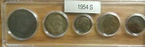 1954 S SILVER 50C 25C 10C US MINT SET 5 COINS IN A PLASTIC NICE WHITMAN HOLDER 3