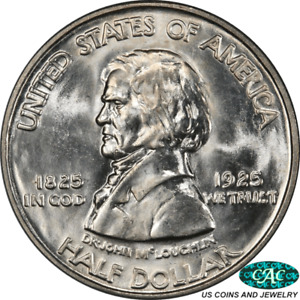 1925 50C VANCOUVER HALF DOLLAR COMMEMORATIVE PCGS AND CAC MS65