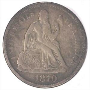 1870 S SEATED LIBERTY  CIRCULATED FINE   LOW MINTAGE