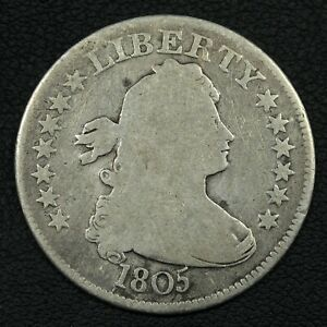 1805 DRAPED BUST SILVER QUARTER   CLEANED