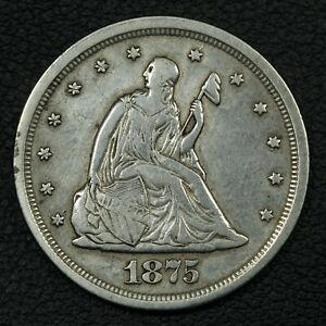 1875 S SILVER TWENTY CENT PIECE   CLEANED