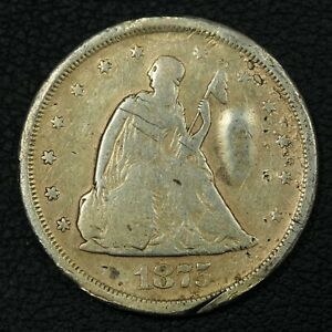 1875 S SILVER TWENTY CENT PIECE   DAMAGED & CLEANED