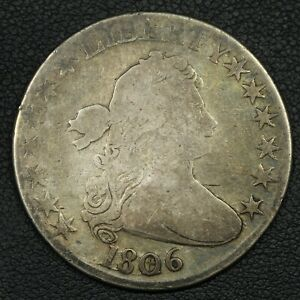 1806 DRAPED BUST SILVER HALF DOLLAR   CLEANED