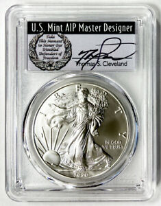 CLEVELAND SIGNED 2020  P  SILVER EAGLE $1 FIRST DAY OF ISSUE PCGS MS70