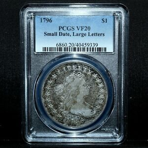 1796 DRAPED BUST SILVER DOLLAR  PCGS VF 20 $1 SMALL DATE LARGE LETTERTRUSTED