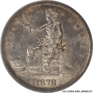 1878 S US SILVER TRADE DOLLAR CHOPMARKED CLEANED ANACS AU 58 DETAILS