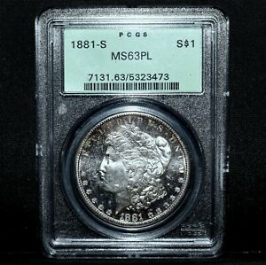 1881 S MORGAN SILVER DOLLAR  PCGS MS 63 PL  $1 PROOF LIKE DEEP  TRUSTED