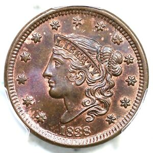 1838 N 4 PCGS MS 65 BN CAC MATRON OR CORONET HEAD LARGE CENT COIN 1C