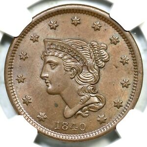 1840 N 3 NGC MS 64 BN SM DATE BRAIDED HAIR LARGE CENT COIN 1C