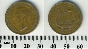 GREAT BRITAIN 1942    HALF PENNY BRONZE COIN   KING GEORGE VI   THE GOLDEN HIND