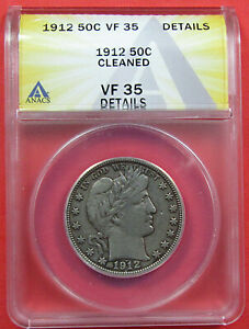 1912 50C ANACS VF35  DETAILS CLEANED . DESIRABLE DATE IN THIS GRADE.  921317
