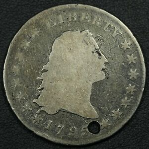 1795 TWO LEAVES FLOWING HAIR SILVER DOLLAR   HOLED