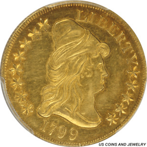 1799 CAPPED BUST RIGHT EAGLE LARGE OBVERSE STARS PCGS AU55   NICE ORIGINAL