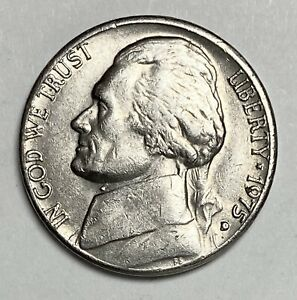 1975 D JEFFERSON NICKEL 5 CENTS CIRCULATED REPUNCHED MINTMARK ERROR COIN  3812
