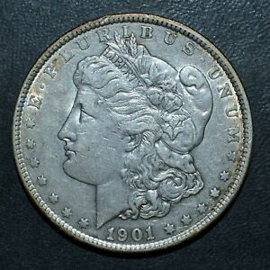 1901 P $1 MORGAN SILVER DOLLAR  AU ALMOST UNC   NOW  DATE TRUSTED