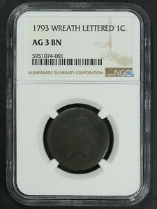 1793 LETTERED EDGE FLOWING HAIR COPPER WREATH CENT NGC AG 03 BN