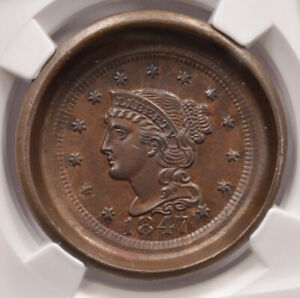 Click now to see the BUY IT NOW Price! NGC 1C 1847 BRAIDED HAIR LARGE CENT OBVERSE DIE CAP MS63 BROWN