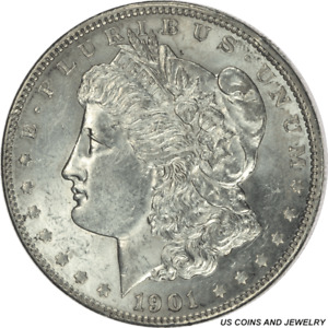 1901 P MORGAN SILVER DOLLAR UNCERTIFIED  UNCIRCULATED   WHITE COIN