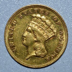 1878 P $3 GOLD PIECE  AU ALMOST UNCIRCULATED   COIN  NOW TRUSTED